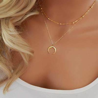 Tomtosh Double Horn Necklace Crescent Moon Jewelry Gift