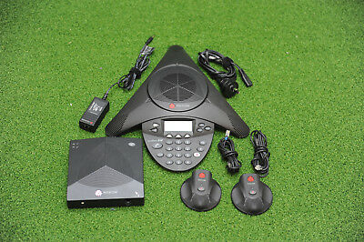 Polycom SoundStation2W Ex 2201-67800-101 Wireless Conference Phone Complete Set