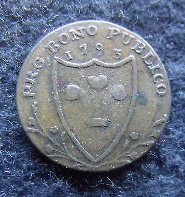 1793 South Wales Farthing George III  Token an Early Milled British coin