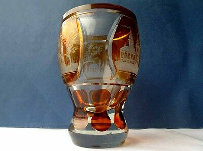 Biedermeier Mug, Castle View, Flashed Glass, Amber Color, um 1850 F624