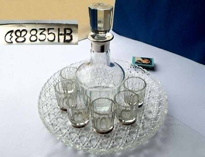 Set, Carafe +6 Mug, Glass, 835 Silver, Hermann Builder, um 1950 F683