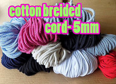 Braided Cotton Cord Cotton String 5mm Drawstring Cord 13colors Rope Craft String