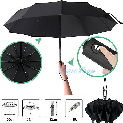 Portable Automatic Folding Umbrella Windproof Compact With 10 Fiberglass Frames