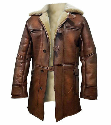 Dark Knight Rises Bane Genuine Leather Shearling Brown Ginger Trench Coat/Jacket