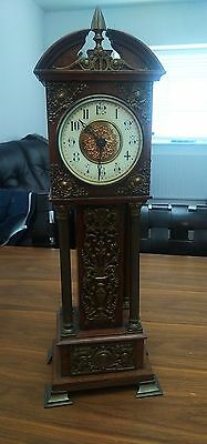 Antique Brass Column Miniature Grandfather Clock Porcelain Dial French Movement