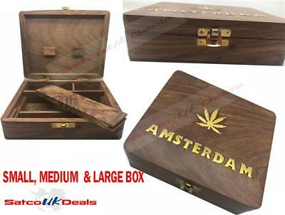 Wooden BOX Tobacco Smoking Rolling Grassleaf Roll Snuff MINI SMALL LARGE MEDIUM