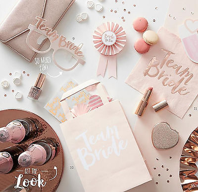 TEAM BRIDE HEN PARTY Rose Gold Vintage Bride to Be Accessories Party Favours NEW