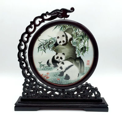 Chinese Panda Doube-sided Embroidery art(with frame) Ornament Gift set Christmas