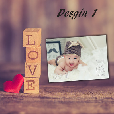 New Baby Thank You Cards | Personalised Photo Cards for Newborn Boy/Girl Gifts