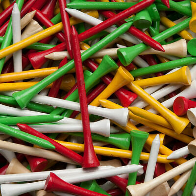 50 WHITE WOOD / WOODEN GOLF TEES (83mm Large) + Free Golf Ball Markers