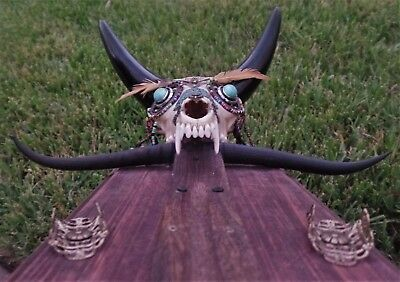 Real Coyote Skull Incense Burner Holder OOAK Taxidermy Magick Occult Wicca Goth