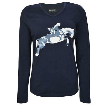 45% OFF ! Thomas Cook Equestrian Lynda Top Womens Navy Horse Print