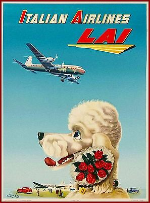 Italian Airlines - LAI Poodle Italy Vintage Travel Advertisement Poster Print