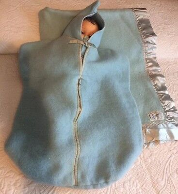 Vintage QUILTEX 1940s BABY Infant BUNTING Blanket Cap Hood 3 Piece Blue Set