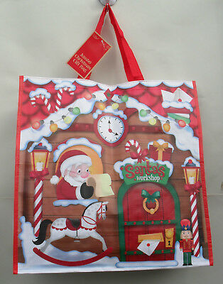 Christmas Gift Bag, Santas Workshop, Waterproof Shopping Tote Bag, 45cm Square