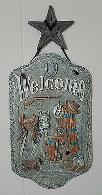 "Western Hanging Welcome Plaque - Licensed Design by TCR - 17 1/2"" Tall X 8"" Wide"