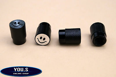 4 Pcs Smiley Valve Caps in Black for Cars Trucks Motorcycle - NEW