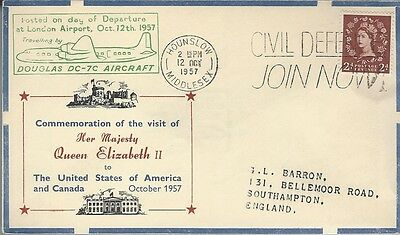1957 Royal Visit - Flight cover London to Canada