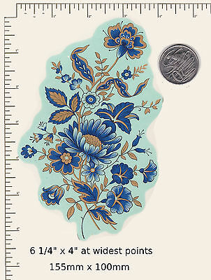 """1 Waterslide ceramic decal Blue /Gold Oriental Flower Floral  6 1/4"""" x 4""""  PD83a"""