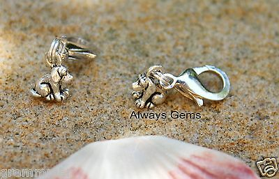 3D Cute and tiny10x8mm puppy dog silver tone Clip on charm,zipper pull charm new