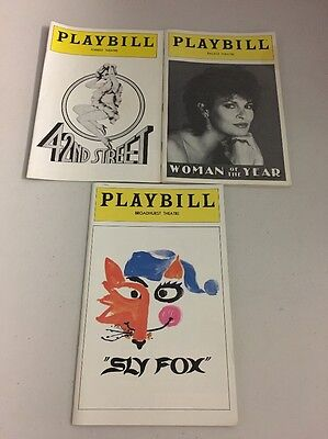 Lot of 3 Vintage Playbills - Sly Fox - Woman Of The Year - 42nd Street