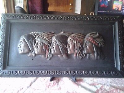 Gorgeous Native American 3D meatal wall art..Five Indian Chiefs beautiful.