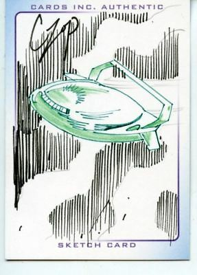 Thunderbirds Are Go! Movie Sketch Card by Czop Colored Green Spaceship