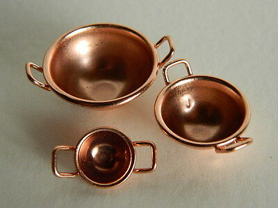 (Kp2.17) Dolls House Metal Copper Coloured Pack Of Three Bowls