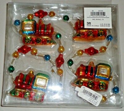 TRAIN ENGINE Glass Christmas Garland 3ft NEW