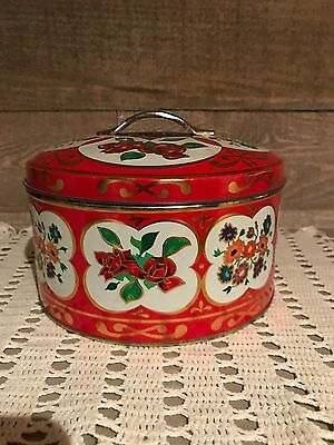 Embossed Red Colored Flower Red Handled Tin Gray Dunn Scotland Biscuits