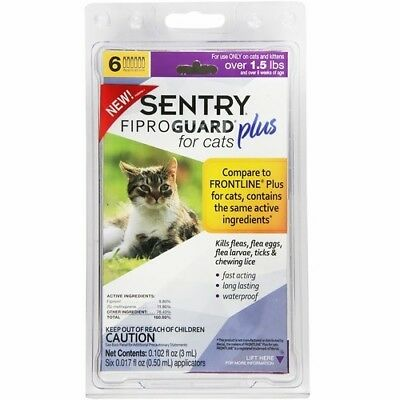 SENTRY Fiproguard Plus for Cats, Squeeze-On  6 MONTHS FLEAS TICKS CHEWING LICE
