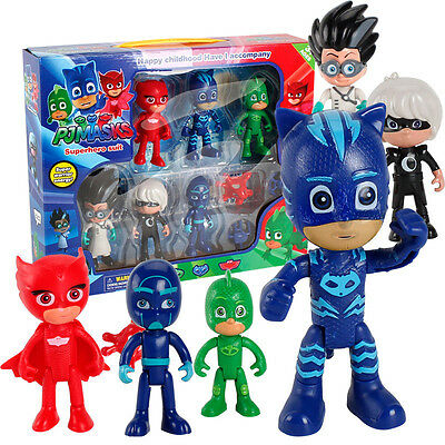 6Pcs/set Pj Masks Characters Catboy Owlette Gekko Cloak Action Figure Toys Gifts