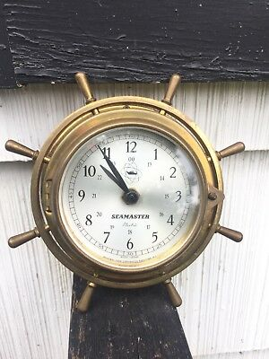 1940's ITC SEAMASTER BRASS SHIP'S BELL HELM CLOCK WESTERN GERMANY WORKS