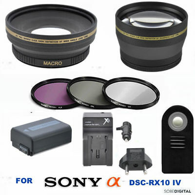 Wide Angle Lens + Telephoto Zoom Lens + Np-Fw50 Battery For Sony Dsc-Rx10 Iv