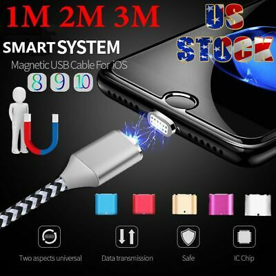US 1M-3M 2.4A Braided Magnetic USB Charger Charging Cable For iPhone 6s 7 8 Plus