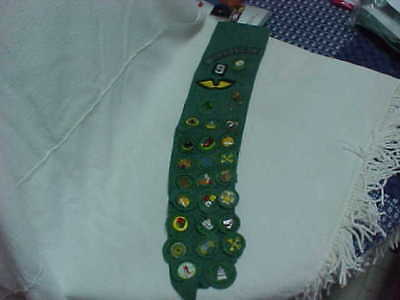 Glasgow 1956 Girl Scout Merit Badge Sash W/green Speckled Badges Plus