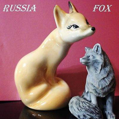 Foxes polar porcelain figurine + figurine marble chips Souvenirs from Russia