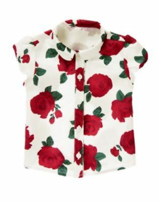 Nwts 4 Gymboree Crazy8 Holiday Pictures Button Down Satin Rose Top