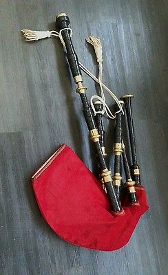 Highland bagpipes COVER red scarlet  Bag velvet gold made in UK Size M