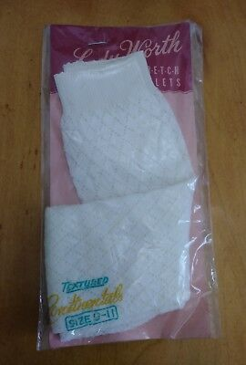 Vintage Lady Worth Pair White Textured Stretch Ankle Sock NOS Size 9 - 11
