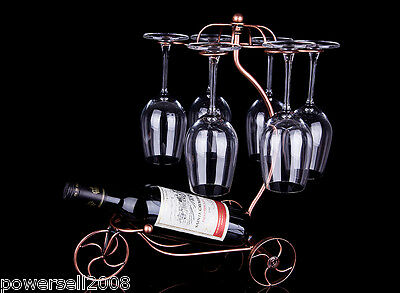 New European Antique Gold Decoration Wrought Iron Wine Glass Holder Rack &$