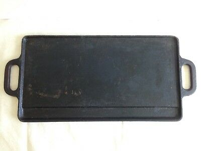 Vintage Cast Iron Griddle Rectangular Double Sided Bacon Pancakes Hashbrowns Yum