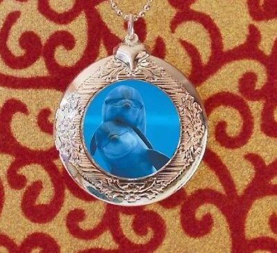 Dolphins in Love, Silver Bubble Charm Photo Locket Necklace USA