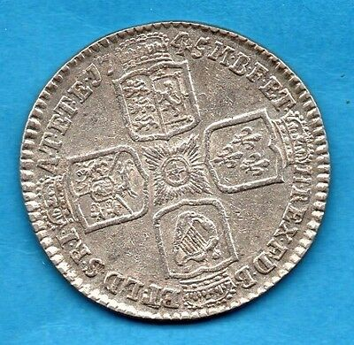 1745 King George Ii Silver Shilling Coin.   1/-    Lima Below Monarch's Bust.