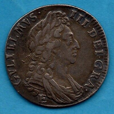 1697 William Iii Silver Shilling Coin. E Below Bust. Exeter Mint 1/-. Rare.