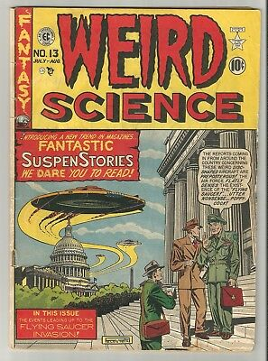 WEIRD SCIENCE # 13 (1950) Classic Flying Saucers cover SIGNED by Al Feldstein!!!