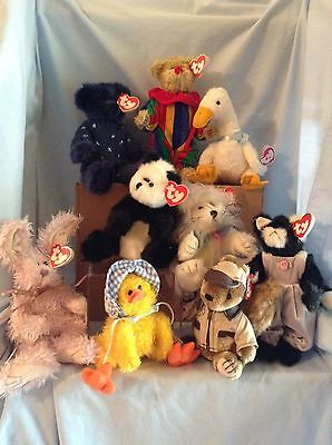Ty Attic Treasures Lot of 9 Jointed 5/way Animals 3+ Boys & Girls Retired $16.99