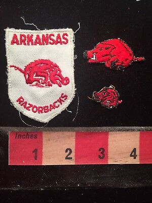Patch Lot Of 3 Vintage Arkansas Razorbacks Patches.  Small One Super Tiny.  79I2