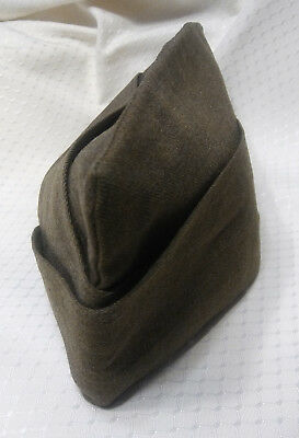 1952 Vintage Us Army Military Wool Garrison Cap Drab Olive Green  Sz 7