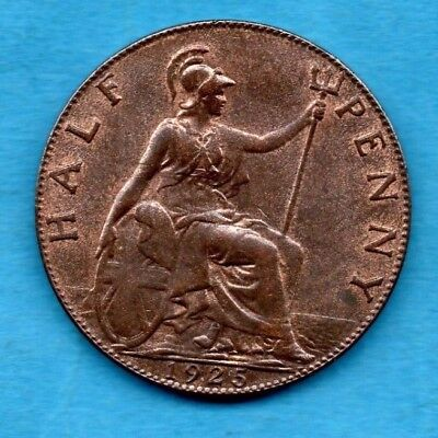 1925 KING GEORGE V (NOT 'M E') HALFPENNY COIN. 1/2d IN LOVELY CONDITION.